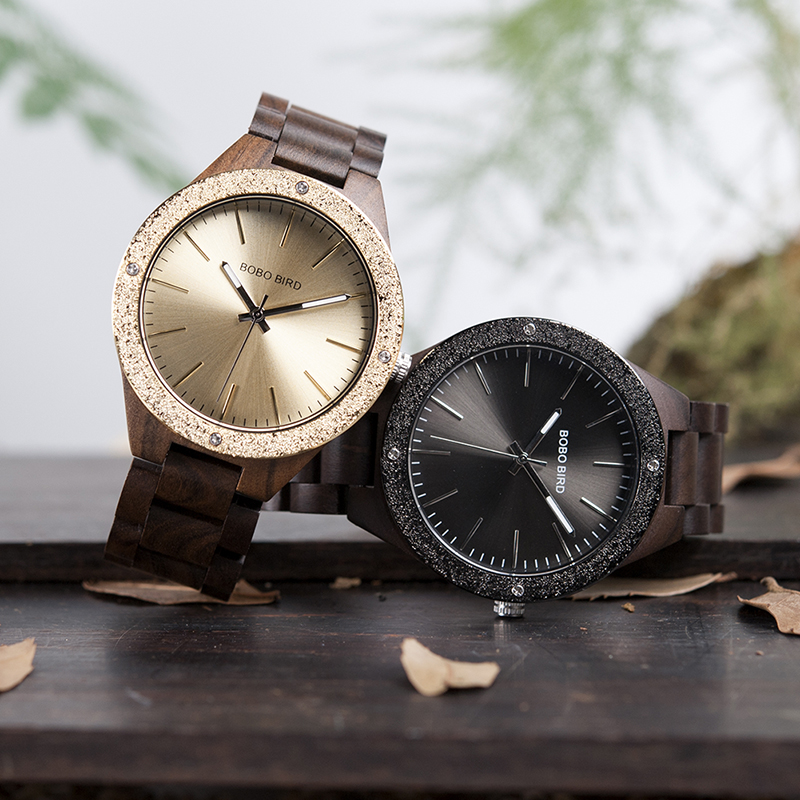 BOBO BIRD Men Watch Bamboo Wooden WristwatchesMale kol saati relojes hombre With Wood Links In Gift Wood Case Custom logo bobo bird men s wooden watch with all wood strap quartz analog with diamond relojes hombre gifts in wood box custom logo