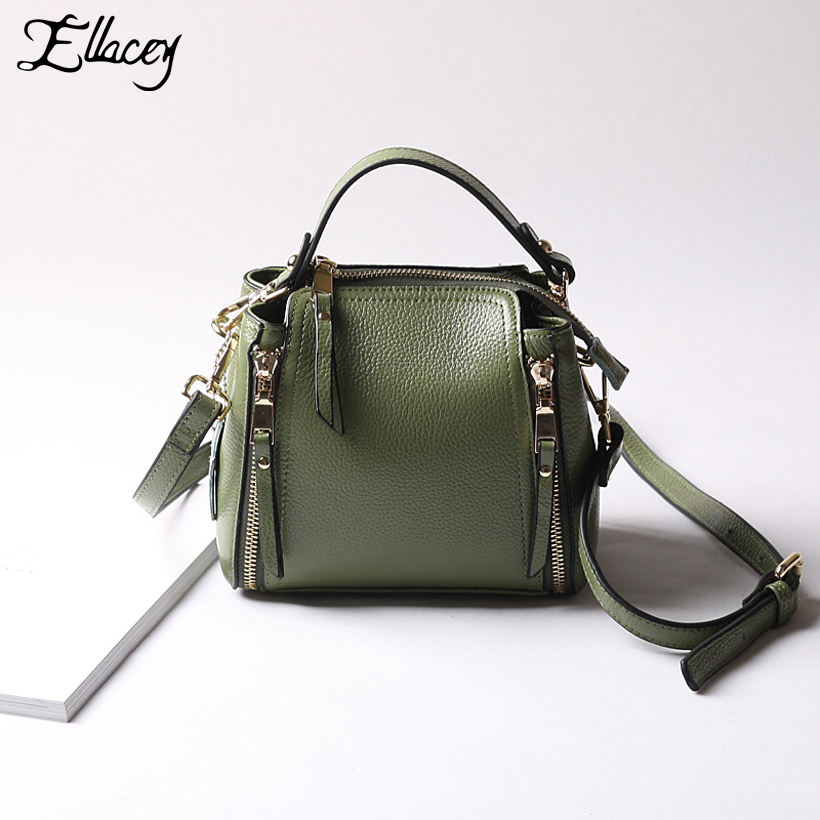 Ellacey New 2017 Genuine Leather Handbags Women Double Zipper Shoulder & Crossbody Bags Bucket Cow Leather Small Messenger Bags 2017 new female genuine leather handbags first layer of cowhide fashion simple women shoulder messenger bags bucket bags