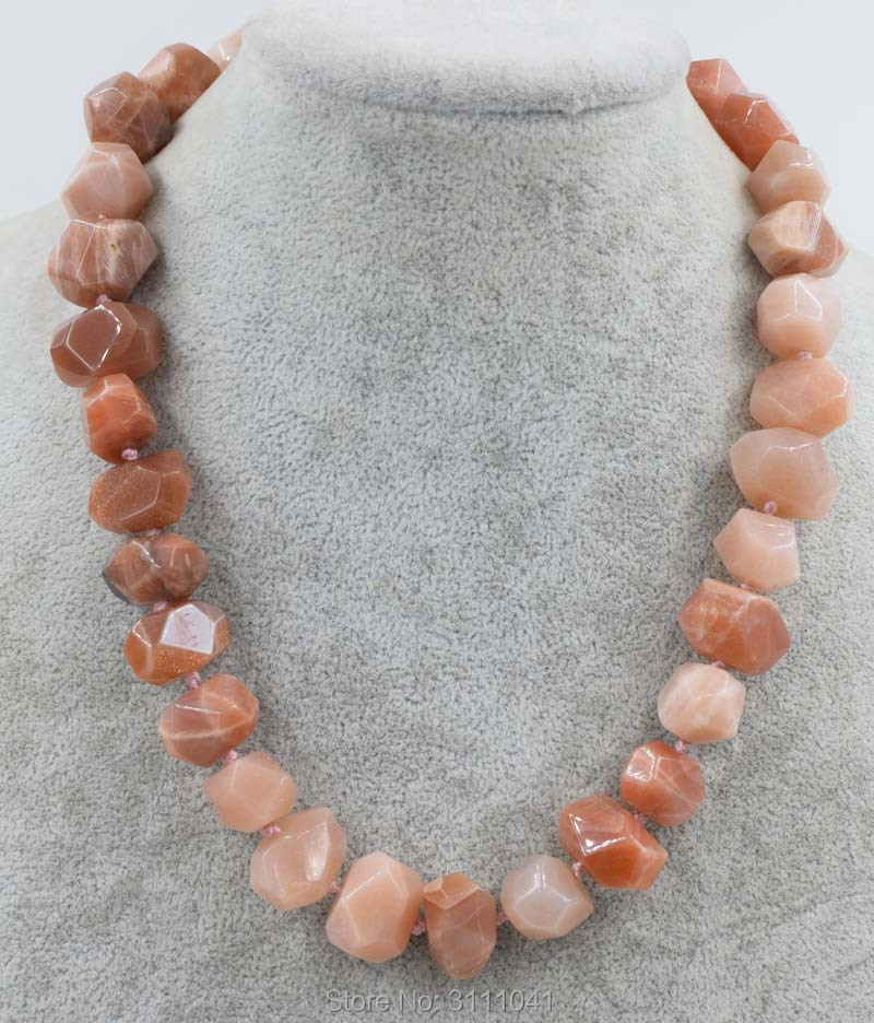 pink sunstone baroque faceted 13*18mm necklace 18inch wholesale nature beads FPPJ gemstone image