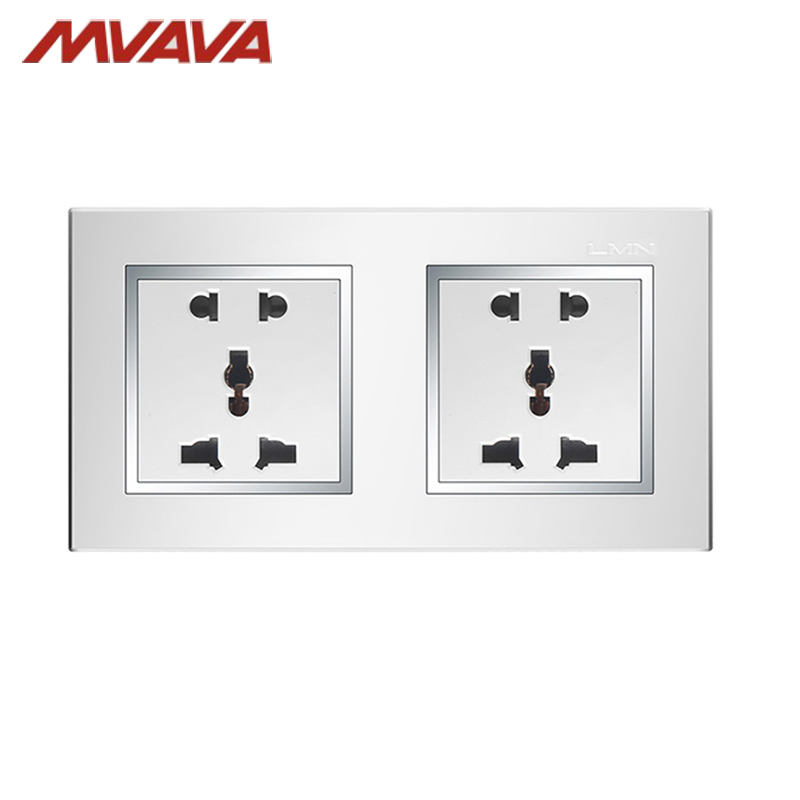 compare prices on wiring wall plugs online shopping buy low price mvava double 6pins wall socket multifunctional electrical wiring light wall power plug outlet 110~250v chromed frame pc panel