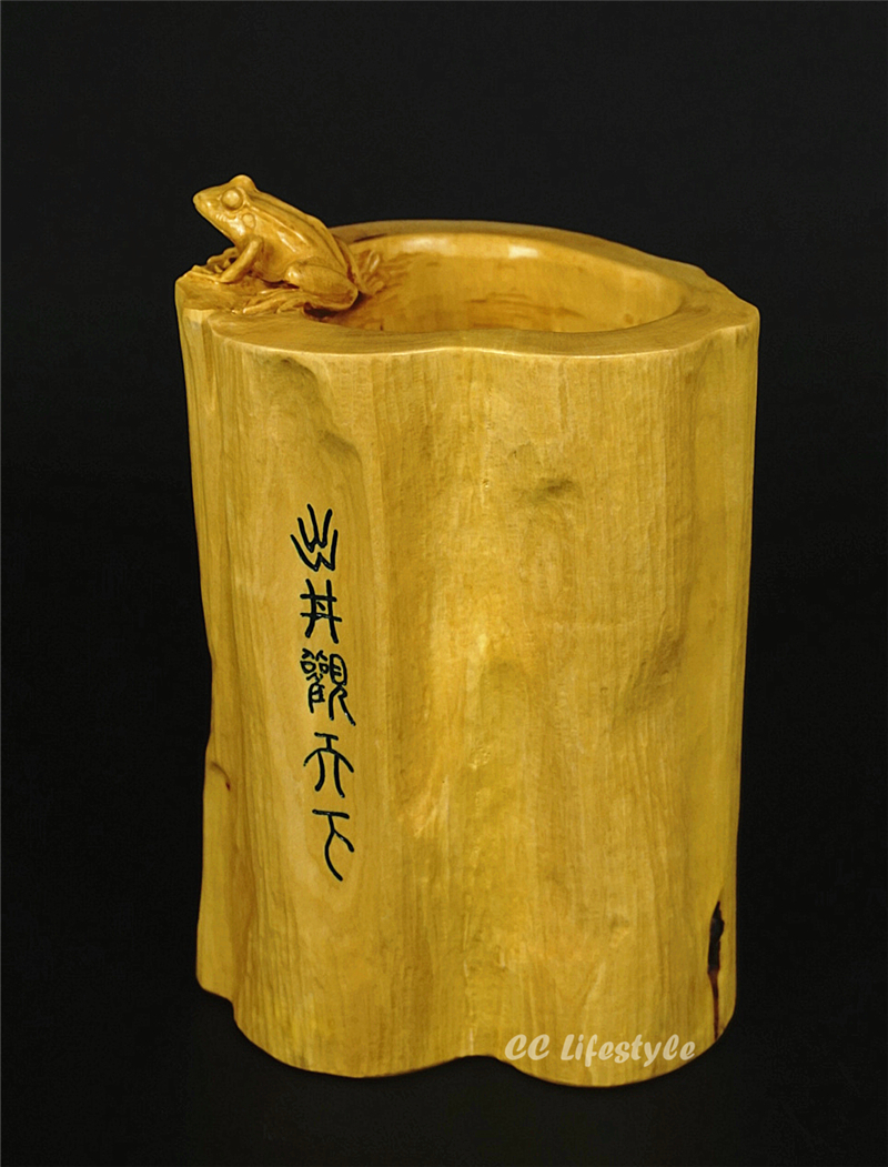 CC Lifestyle Animal Carving Statue Frog Money Pen Box Wood Feng Shui  Lucky  Craft   Home Decoration