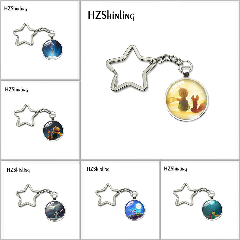 2019 New Fashion Lovely The Little Princes Star Keychain Little Princes Jewelry Glass Cabochon Stainless Steel Key Chain Jewelry