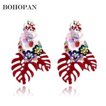 Summer Fashion Boho Earrings Women Metal Banana Leaf Shape Shiny Sequin Big Pendant Drop Vintage Jewelry brincos 2018