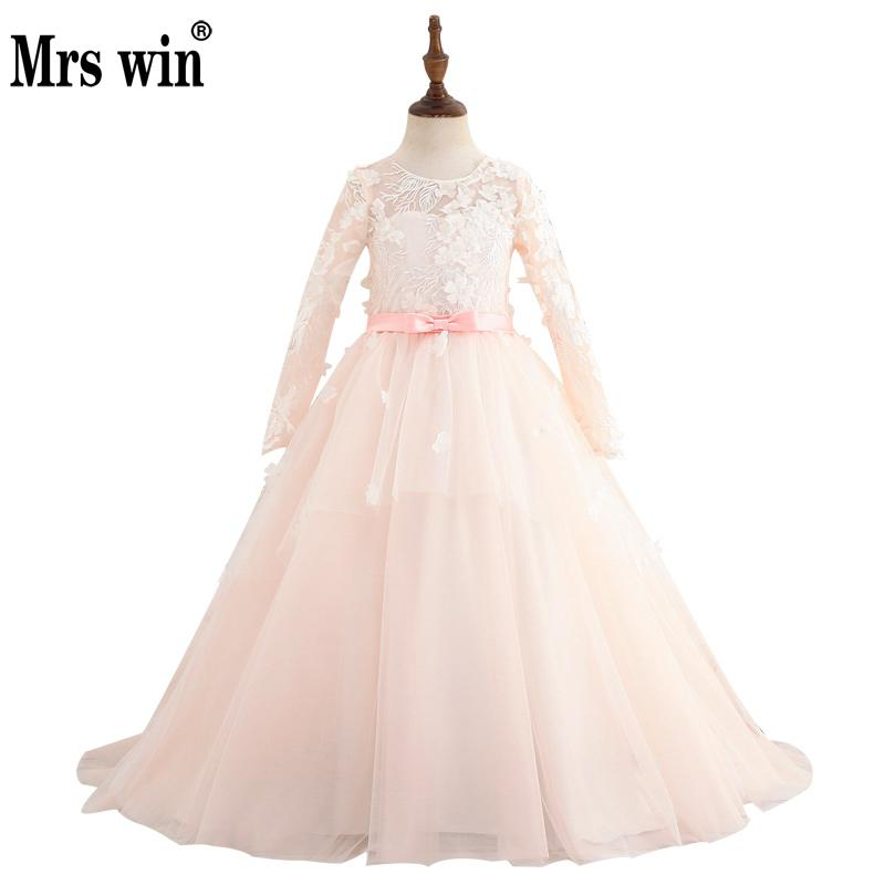 2018 new flower girl dresses elegant long sleeve luxury lace 2018 new flower girl dresses elegant long sleeve luxury lace applique bright line embroidery ball gown robe de bal fille x mightylinksfo