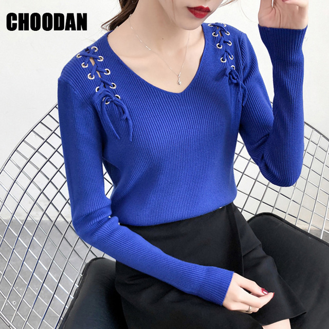 0c301632ba1f0 Long Sleeve Sweater Women Winter Autumn Ladies Top 2019 Korean Fashion Sexy  V-neck Pullovers Lace Up Fitness Shirt Femme Clothes