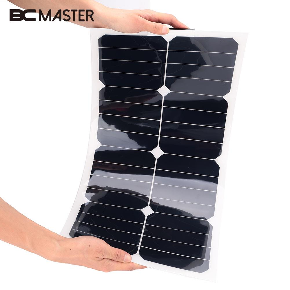 BCMaster 18V 25W Solar Power Panel Flexible Boat Car Vehicle Auto Solar Energy Battery Panel For Outdoor Activity high power portable spotlight lantern searchlight rechargeable waterproof hunting spotlight built in battery
