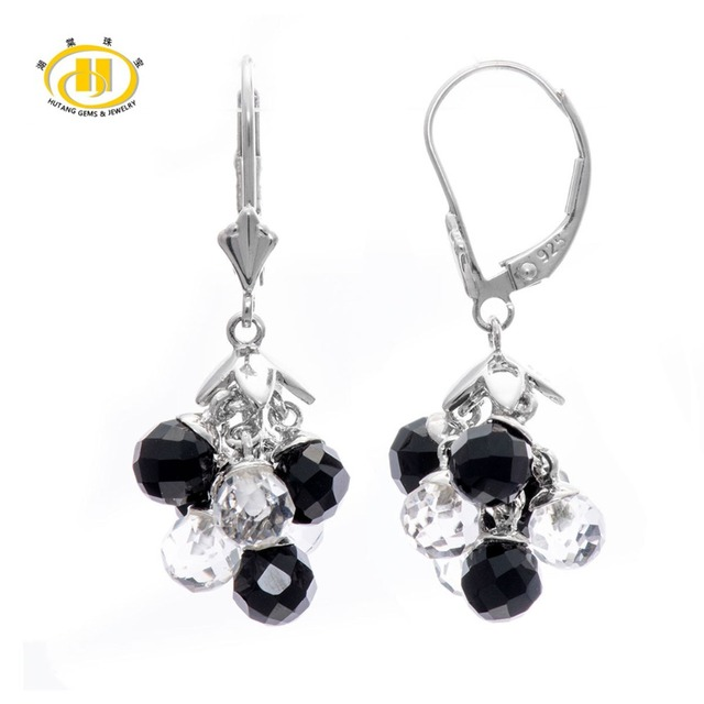 Hutang Black Agate & White Crystal Solid 925 Sterling Silver Dangle Drop Earrings for Women Jewelry