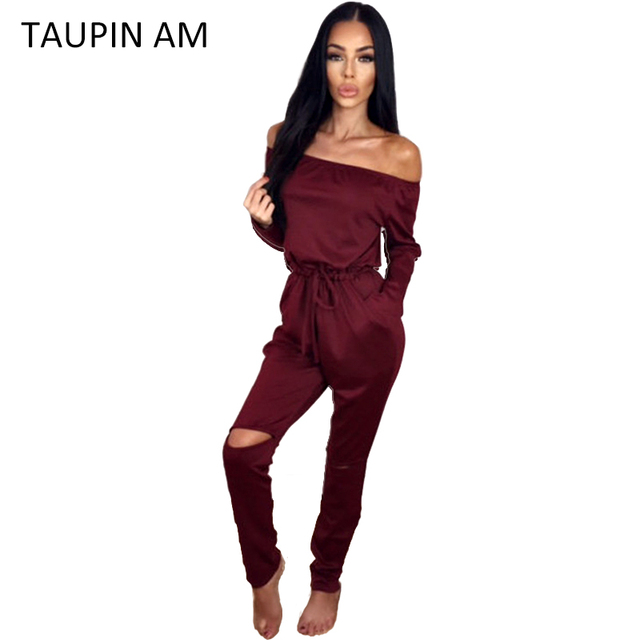 5497b9801a1 TAUPIN AM Cotton women jumpsuit romper Sexy Long sleeve off shoulder  jumpsuit Autumn winter 2016 grey