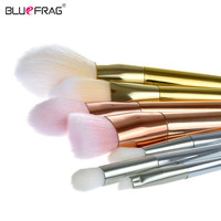 BLUEFRAG Gold 7 Pcs Makeup Brushes Set Synthetic Hair Make Up Brushes Tools Cosmetic Foundation Brush