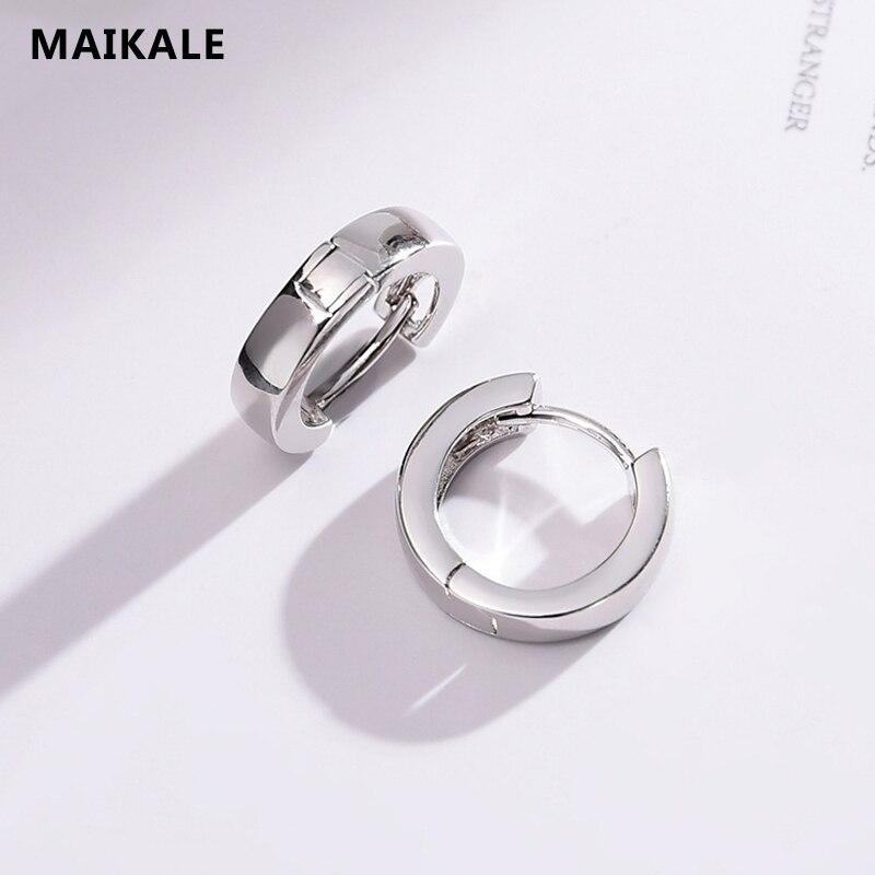 Maikale Einfache Hoop Ohrringe Kupfer Aaa Zirkonia Gold Silber Glänzend Runde Koreanische Ohrringe Für Frauen Zu Senden Freund Geschenke Creolen Schmuck & Zubehör