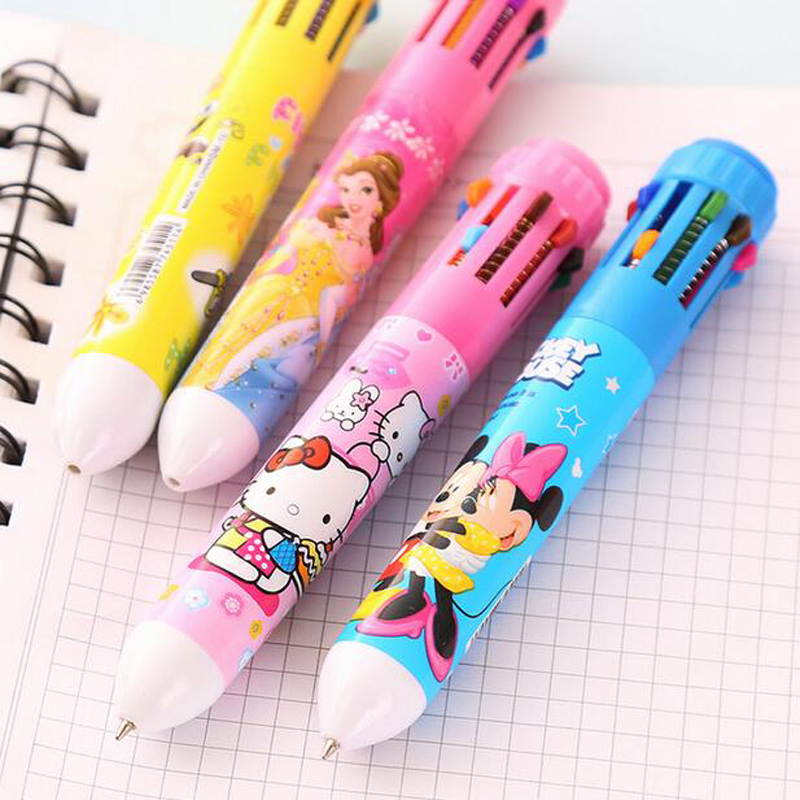 Cute Kawaii Cartoon Lovely Press 10 Color Ballpoint Pen Office School Supply Pens Signing Drawing Pen Kids Stationery Gift