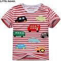 Little maven crianças marca de roupas de verão meninos roupas de bebê curto camisa de manga listrada t ônibus carro de Algodão impressão t topos L034
