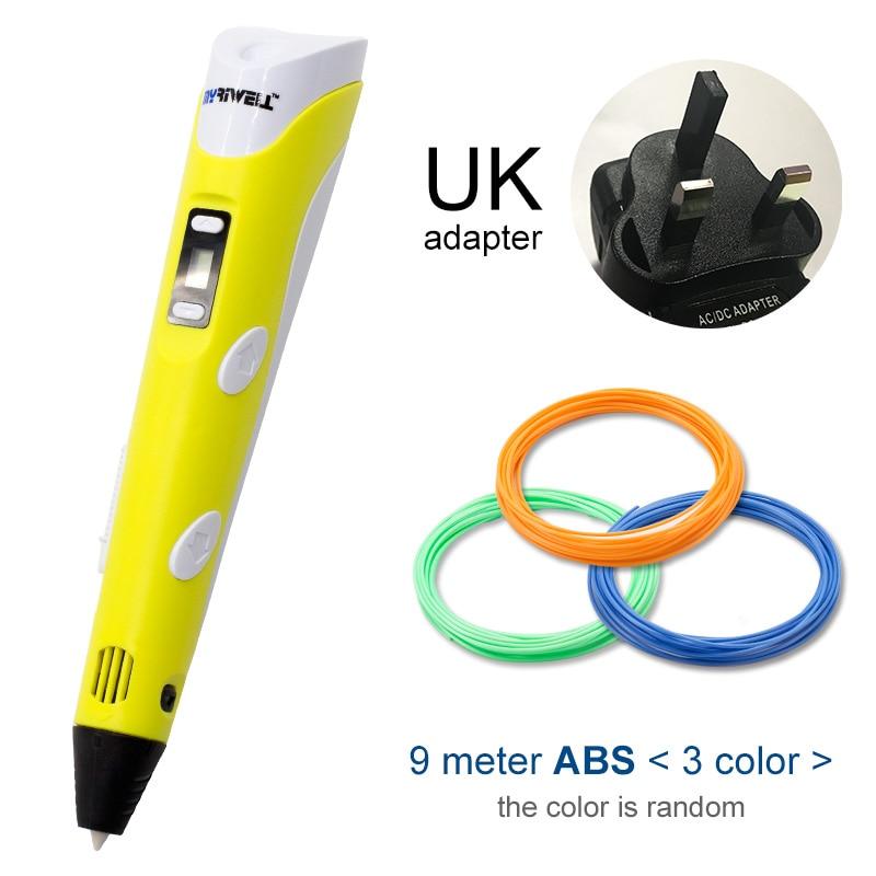 Myriwell, 3D ручка, светодиодный экран, сделай сам, 3D Ручка для печати, 100 м, ABS нити, креативная игрушка, подарок для детей, дизайнерский рисунок - Цвет: Yellow UK