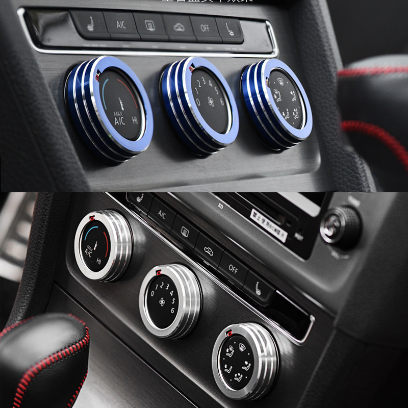 cheapest 3 pcs For Volkswagen Golf 7 Car Air Conditioning Knob Control Switch Sticker Trim Ring Decorative Circle Cover Car styling