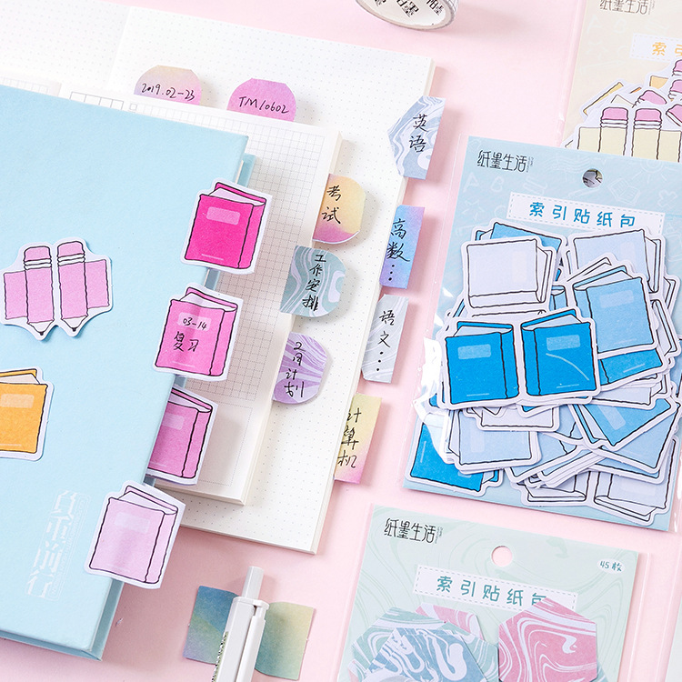 45PCS DIY Index Stickers Bag 9*18cm Planner Diary Supplies Cool Stationery Gift