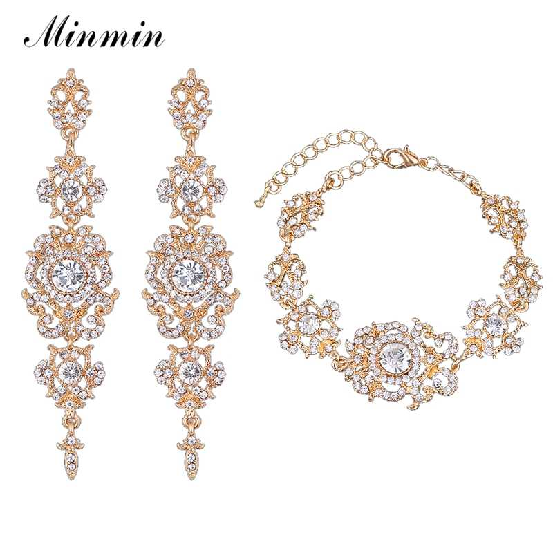 Minmin Gold/Silver Color Crystal Rhinestone Wedding Jewelry Sets Bracelet Earrings Sets for Brides Bridesmaid Party EH182+SL031