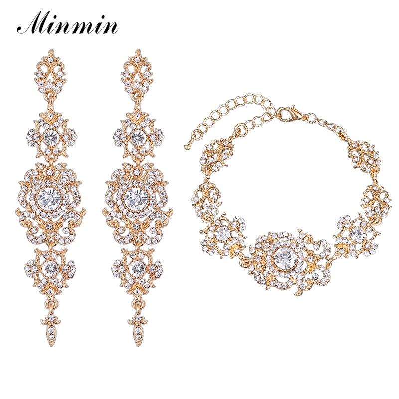 Minmin золото/серебро Цвет со стразами Наборы свадебных ювелирных изделий браслет Серьги Наборы для ухода за кожей для невесты Вечерние eh182 + SL031