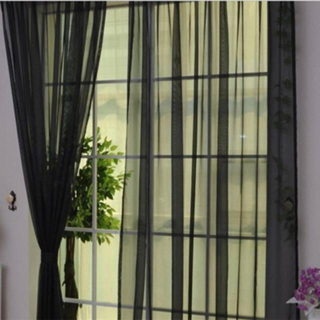 OUTAD Simple Solid Colors Tulle Door Window Curtain