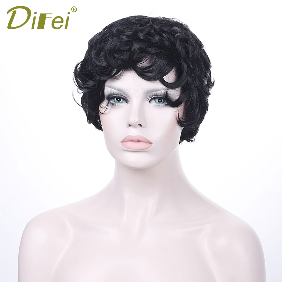 DIFEI Black Short Curly Hair High Temperature Fiber Synthetic Hair Extension Cospaly Wig for Women