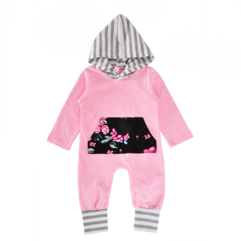 Baby Girl One Piece Rompers Spring Fall Flower Striped Long Sleeve Newborn Romper Jumpsuit Pink Hooded Kids Infant Girls Clothes newborn infant baby girl short sleeve arrow romper striped leg warmers headband 3pcs pink outfits set clothes