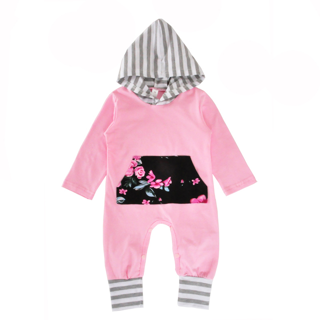 6ba3a8988 Baby Girl One Piece Rompers Spring Fall Flower Striped Long Sleeve ...