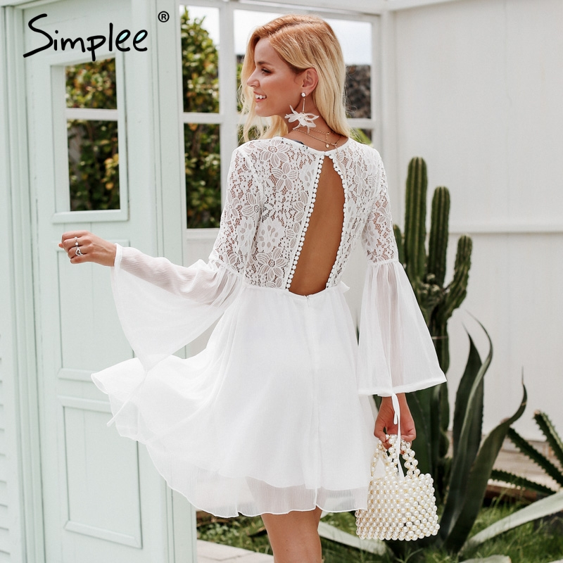 Simplee Embroidery flare sleeve hollow out women dress Vintage lace backless sexy dress Elegant ruffle autumn winter white dress Платье