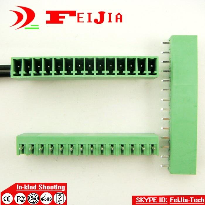 (50pcs/lot) 15EDG-3.5-14P Straight Pin PCB Screw Terminal Block Connector 3.5mm Pitch 14 Pins Plug in [vk] 553602 1 50 pin champ latch plug screw connectors