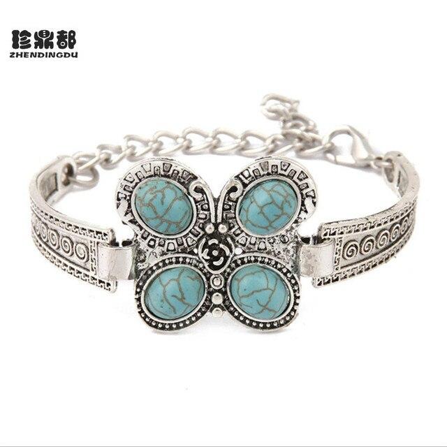 f736fbdaf3204 Nouveau modèle indien bijoux Style bohème Antique argent papillon chaîne  avec rond bleu pierre charme ethnique