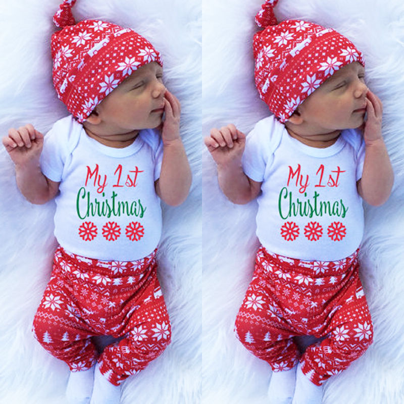 dc550a228 Newborn Baby Boys Girls Clothes Set 3PCS Outfits Set Christmas Clothes Tops  Bodysuits Long Sleeve Pants Hat-in Clothing Sets from Mother & Kids on ...