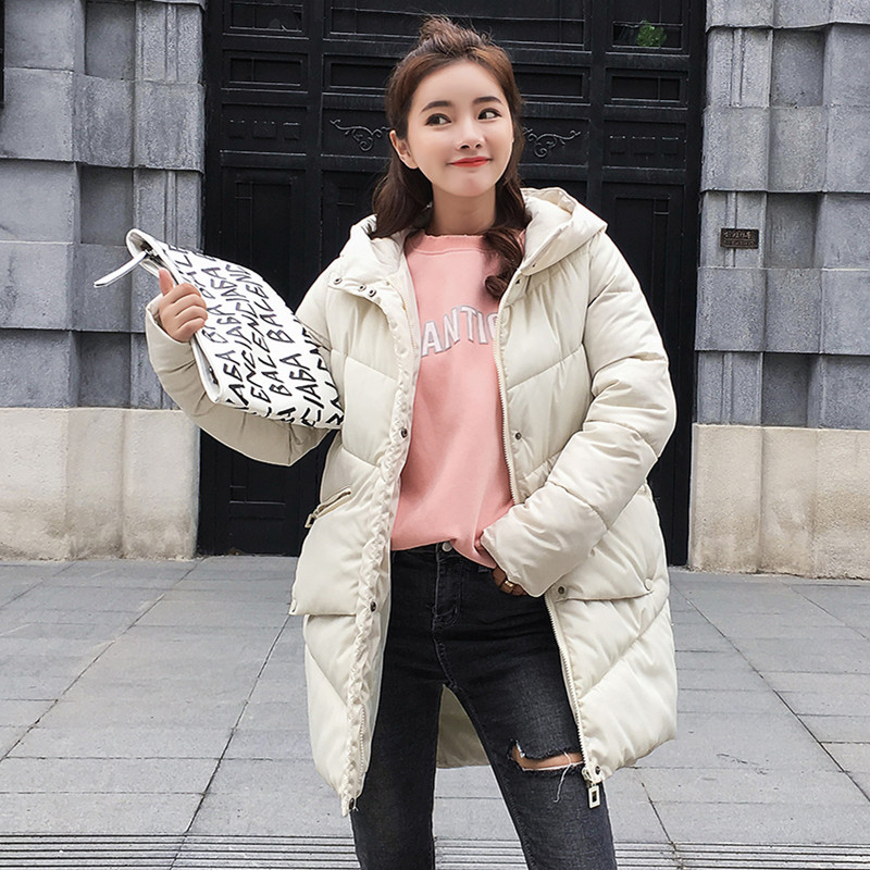 Winter   Coat   Women Solid Outwear Medium-Long Wadded Harajuku BF Snow Parka Thickness Cotton Warm   Down   Jacket Plus Size Outwear