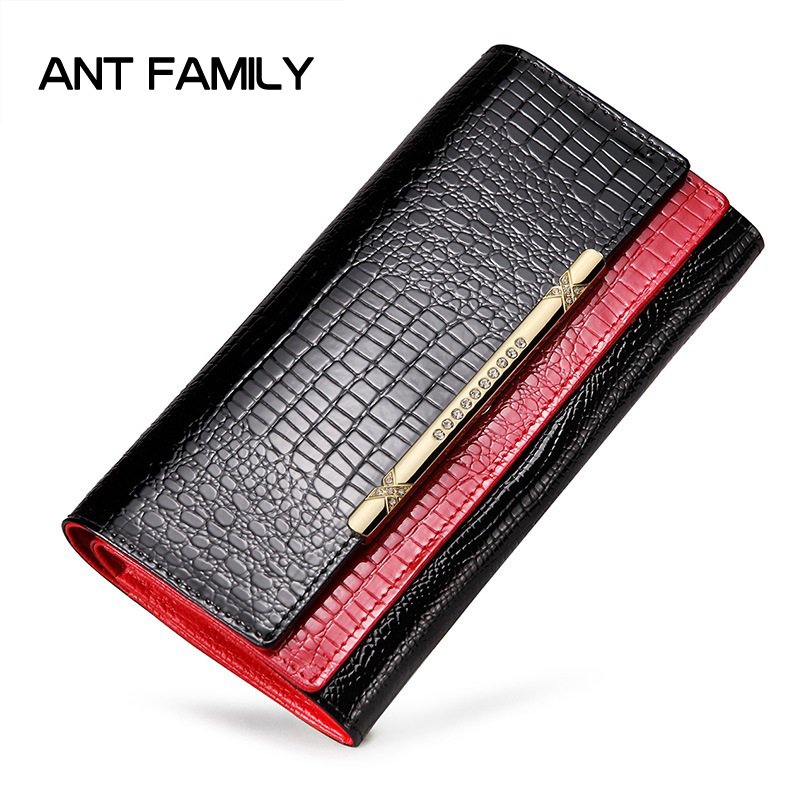 Double Layer Genuine Leather Women Wallet Long Fashion Crocodile Pattern 3 Fold Patent Leather Wallets Coin Purse Female Clutch genuine leather women wallets crocodile 3d head fashion clutch purse wallet alligator pattern long wallet women carteira