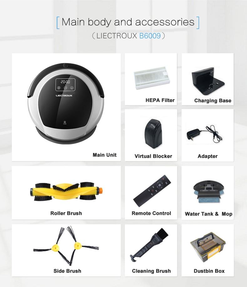 FBA LIECTROUX Robot Vacuum Cleaner B6009 Map Navigation Smart Memory Suction 3000pa Dual UV Lamp (FBA)LIECTROUX Robot Vacuum Cleaner B6009,Map Navigation,Smart Memory,Suction 3000pa,Dual UV Lamp,Wet Dry Mop,Wifi App aspirador