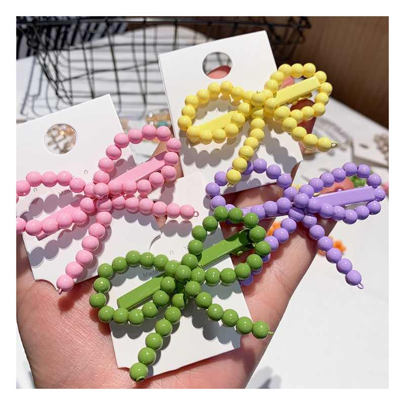 Korea Chic Candy Color Bow Knot Hair Clips Hairpins Women Handmade Braided Plastic Beads Hairgrip Hair Accessories