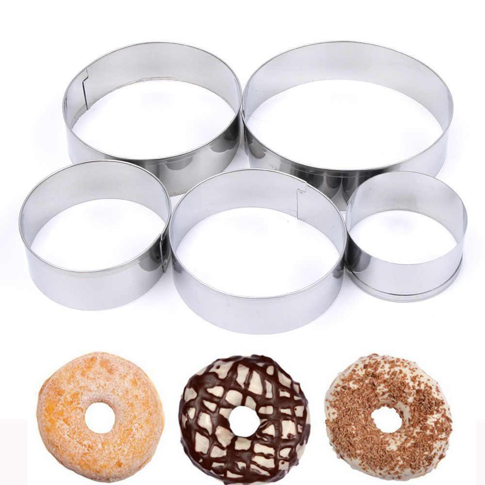 5 шт./лот пончик печенья резак из нержавеющей стали круглый торт форма для бисквитов помадка резка Кондитерские резаки инструменты для выпечки