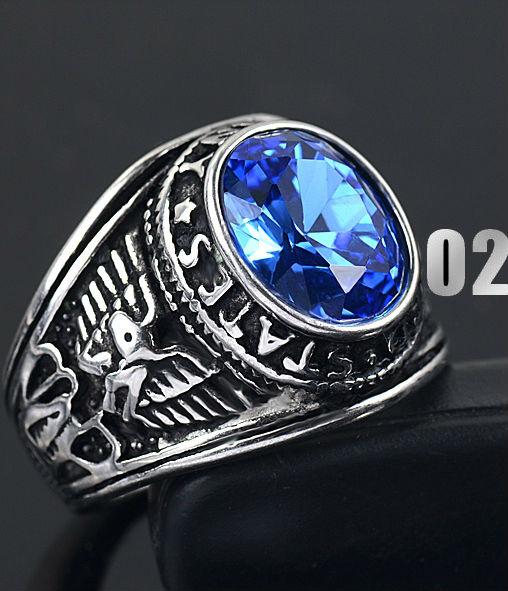 Aliexpress.com : Buy Brand Titanium Thai Silver Men Finger ... Silver Rings For Men With Blue Stone