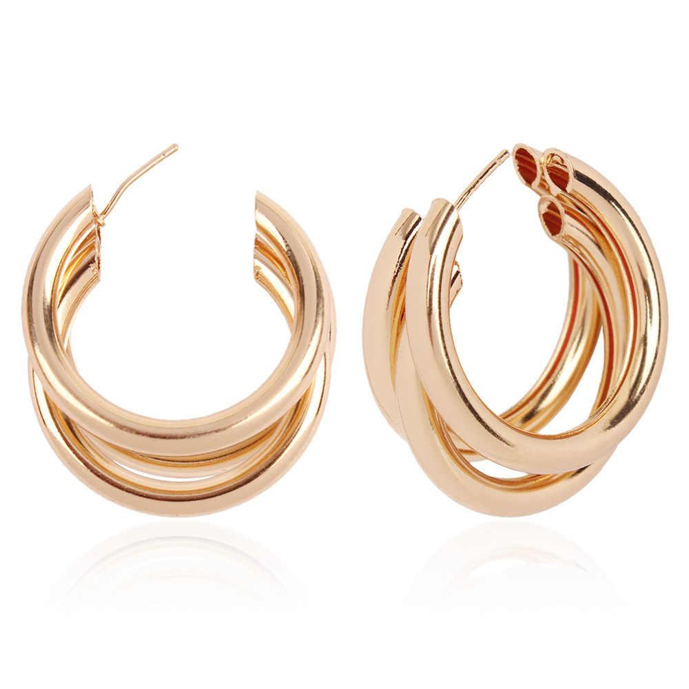 fadba35e5 MESTILO 2019 New Fashion Gold Color Thick Tube Round Circle Rings Earrings  For Women Zinc Alloy