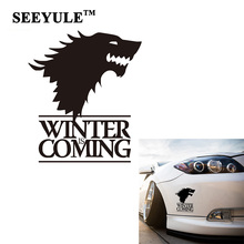 1pc SEEYULE Winter Is Coming Wolf Game of Thrones Car Sticker Decorative Head Of Wolf Car Reflective Window Stickers Vinyl