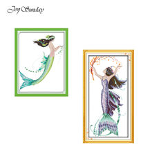 Joy Minggu Mermaid Pola Cross Stitch Cross Stitch Kit Cetakan DMC Ekologi Katun Bordir Kit DIY Jarum Kerajinan(China)