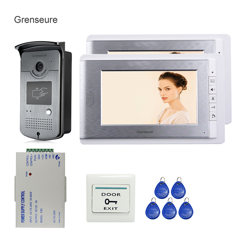 FREE SHIPPING New 7 LCD Color Screen Video Door Phone Intercom System + 2 Monitor + 700TVL RFID Access Outdoor Camera In Stock