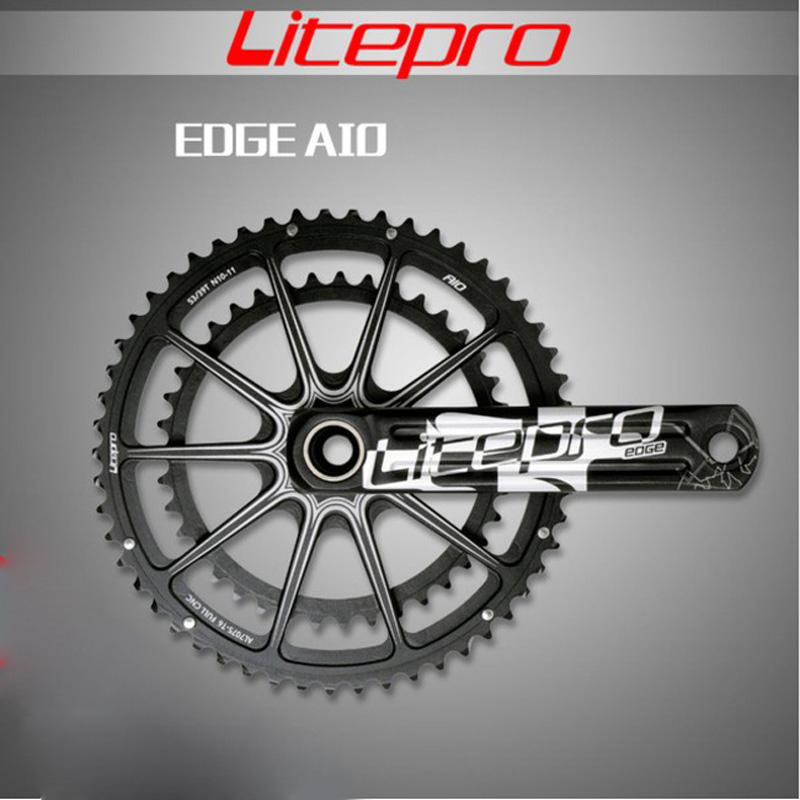 Litepro BORD AIO Hollow Double Chainring Road Crankset Crank 53-39t 50-34t 52-36t 170mm 172.5mm Road Folding Car Bicycle Parts