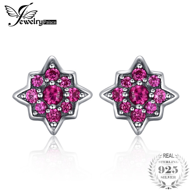 JewelryPalace Fashion Flowers Created Ruby Stud Earrings 925 Sterling Silver Tre