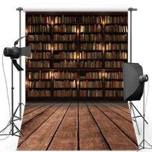 Bookshelf Bookcase Library Wood photo backdrop polyester or Vinyl cloth High quality Computer print wall background(China)