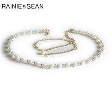 RAINIE SEAN WomenS Pearl Belt For Women Wedding Crystal Ladies White Waist Metal Chain Thin Fashion Beads Strap