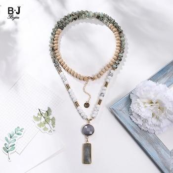 c2a3ab6450e4 BOJIU marca cuentas collares de piedra Natural con ojo de gato colgante  collares NKS166