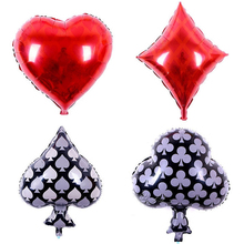 Casino Party supplies 4pcs 18 inch foil balloons birthday party decorations adult Las Vegas Decorations Game Night