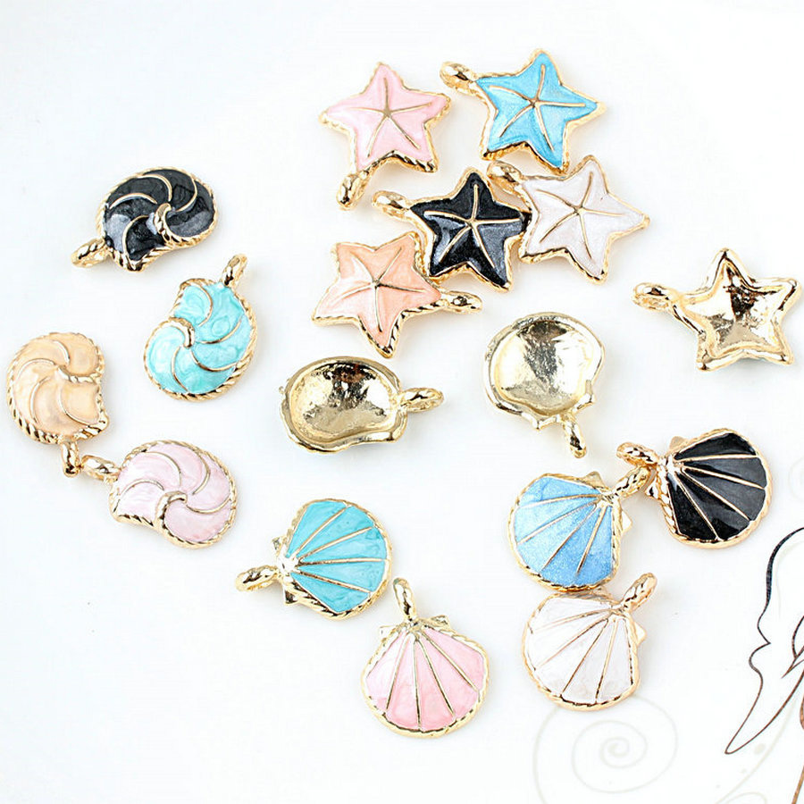 2pcs dripping oil korean sweet small pendant alloy shell scallop starfish conch earrings for woman diy jewelry accessories