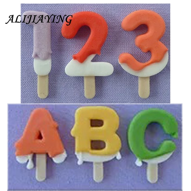 Diy Ice Cream Shape Lollipop Mold Alphabet Silicone Cake Letter And Number Fondant Moulds D1237