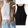 7 Colors Fitness Knitted Crop Top 2016 New Women Tight Bustier Crop Top Skinny T-Shirt Belly  Dance Tops Vest Tank Tops