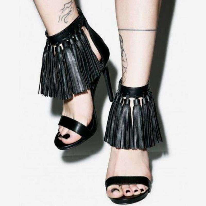 2018 New Thin Heel Tassel Women Shoes High Heels Sandals Sexy Party Shoes Summer Sandals Women Pumps Sandals Shoes