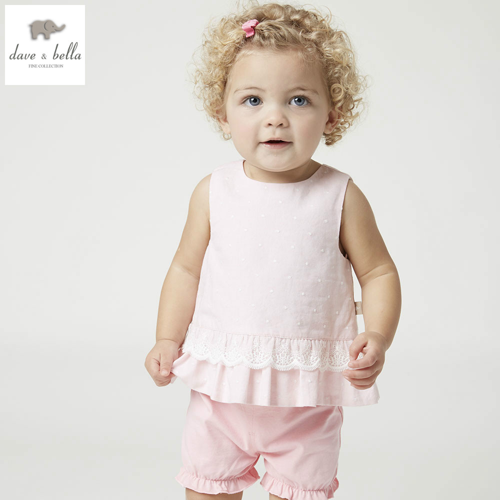 DB4935 dave bella summer baby girls clothing sets children lovely sets toddle cloth kids sets baby children sets fancy clothes